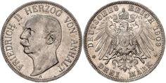 ANHALT, Friedrich II., 3 Mark, 1909 A, very fine.  Dealer HBA  Auction Starting Price: 40.00EUR