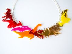 Dinosaur Necklace. Sunshine Ombre and Glitter by designosaurYEAH
