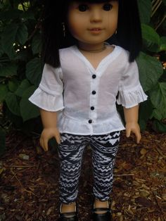 White tunic top by CharsBoutique1958 on Etsy. Made using the Design Your Own Trendy Tunic pattern, found here http://www.pixiefaire.com/products/design-your-own-trendy-tunic-18-doll-clothes. #pixiefaire #designyourowntrendytunic