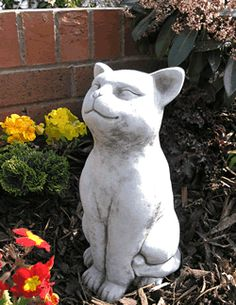 View The Grinning Cat Stone Garden Ornament Statue