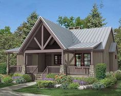 Vaulted front porch, covered deck and a screened porch. Perfect for the front o… Vaulted front porch, covered deck and a screened porch. Perfect for the front of the house! Lake House Plans, House Plans One Story, Cabin Plans, Small House Plans, House Floor Plans, Small Cottage Plans, Rustic House Plans, Cottage Floor Plans, Farmhouse Plans