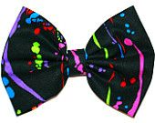 Graffiti Spray Paint Splat Neon Lights Colors Black Background Fabric Printed Hair Bow Bows Style Chick Design Pattern For Women Girls Teens