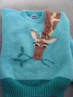 Ravelry: Tall Story pattern by Patons Boys Knitting Patterns Free, Knitting For Kids, Knitting Projects, Intarsia Knitting, Baby Cardigan Knitting Pattern, Crochet Giraffe Pattern, Animal Sweater, Pull Bebe, Baby Girl Sweaters