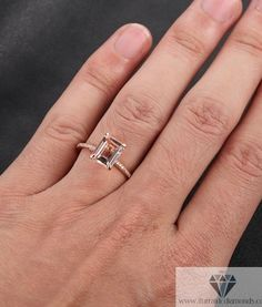 emerald-cut-morganite-solitaire-engagement-ring-diamond-pave-rose-gold-5 (perfect! $510 - my dream ring - just the stone and nothing around it!)