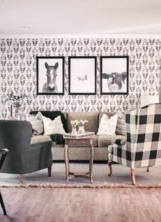 Here's our farmhouse living room makeover featuring the Ralph Lauren Ashfield Floral fabric and our reupholstered chair in the Calico Corners Elwood Thunder buffalo check fabric. Our budget-friendly black and white farmhouse living room makeover will give you fresh home decor makeover ideas. This is an affordable living room before and after you have to see! #RalphLaurenhome #CalicoCorners #farmhousehomedecor #homemakeover #livingroomdecor  #farmhousehomedecor #livingroommakeoverideas