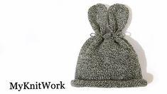Шапочка Зайка для новорожденного. Bunny hat. Вязание спицами.