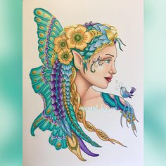 Finally finished my fairy, I love the #windsorandnewton gold ink, wish you could see it better Messages from the Fairies [No.1] Norma J. Burnell ✏️Caran D'Ache Luminance, Prismacolor Premier, Faber Castell Polychromos & Winsor and Newton inks 1/10/16 #messagesfromthefairies #normajburnell #adultcoloring #coloringforadults #adultcoloringbook #creativelycoloring #coloringbook #coloring #adultcolouring #colouring #colouringbook #beautifulcoloring #coloring_masterpieces #bayan_boyan #color...