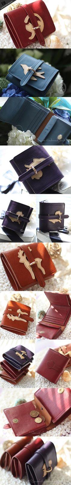Handmade vintage custom sweet cute leather short trifold wallet for wo   EverHandmade