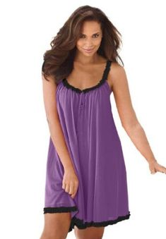 Amoureuse Plus Size Tricot Babydoll Sleep Gown By Amoureuse French Lilac Black,M Amoureuse. $24.99