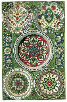 persian pottery and tile~This would be an awesome DIY for a wall hanging. Using plates or shallow bowls and tiles on wood ;)