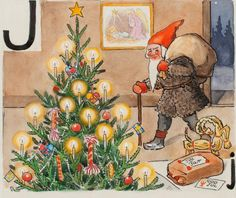 """God Jul"" illustration,by Elsa Beskow,artist. Swedish Christmas, Noel Christmas, Vintage Christmas Cards, Scandinavian Christmas, Xmas, Elsa Beskow, Yule Goat, Vintage Book Art, Gnomes"