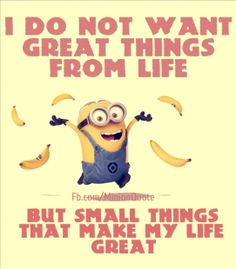 I do not want great things from life, but…