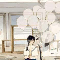 Grafolio Anime Gifs, Anime Art, Aesthetic Anime, Aesthetic Art, Pictures To Draw, Creative Pictures, Cute Couple Art, Korean Art, Cute Illustration