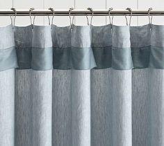 Linen with Silk Trim Shower Curtain #potterybarn
