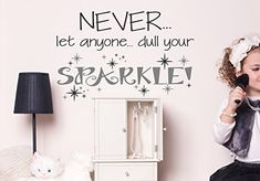 Wall Decor Plus More WDPM3625 Never Dull Your Sparkle Vinyl Wall Decal 23 x 15 Black  Metallic Silver >>> You can find more details by visiting the image link.(It is Amazon affiliate link) #5likes