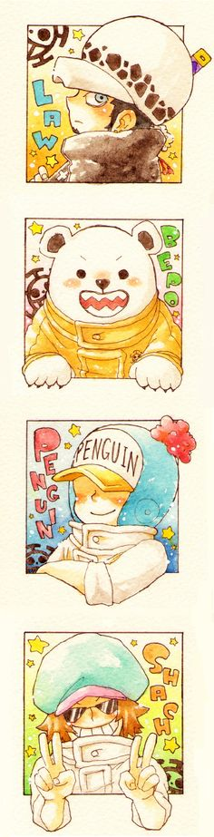 Trafalgar Law, Bepo, Penguin and Shachi.