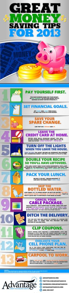 Great Money Saving Tips for 2013: An Infographic on Managing Money - Some Great tips for our military families! I love how it breaks down the savings for some these ideas #MilitaryAvenue