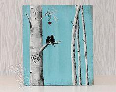 Amor aves Art Rustic signos madera recuperada madera abedul de