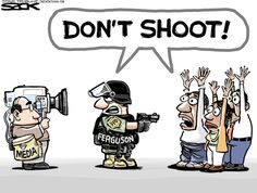 """Don't Shoot is a popular hashtag used in reference to police brutality of black youth. This image depicts the accuracy of the media, as they often reveal death on live television and or showcase dead bodies like Mike Brown's for a long period of time. Notice both the people and the police officer are yelling don't shoot. The people are begging for mercy, while the police officer does not want to be """"shot"""" by the camera committing a dirty crime."""