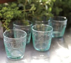 Hand blown in Portugal from 100% recycled glass, these charming tumblers are embossed with the word wine.