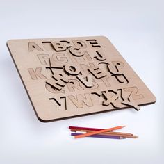 English Children's Alphabet Letters Toy Wooden Puzzle Educational Toy Plywood Wooden alphabet by iWouldWood on Etsy