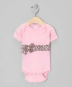 Look at this #zulilyfind! Petunia Petals Pink Leopard Bow Bodysuit - Infant by Petunia Petals #zulilyfinds