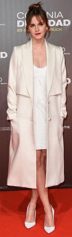 Emma Watson: Coat – Behno  Dress – Maiyet  Earrings – Vita Fede  Shoes – Manolo Blahnik