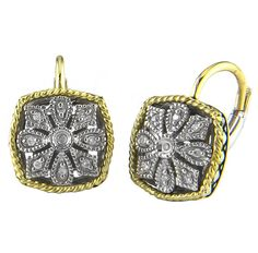 Andrea Candela 18K S/S Antique Square Flower Earrings Style# ACE97/06