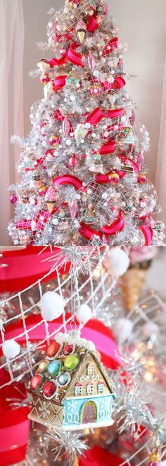 Pink and Silver Christmas Tree - Unique Christmas Tree Decorating Ideas