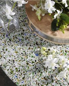 recycled countertops- maybe white with rainbow flecks in my all white with brights for accents?