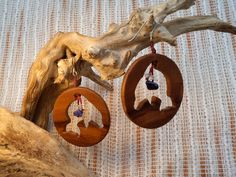 Dolphins round shaped olive wood earrings. by ValleyWWKing on Etsy