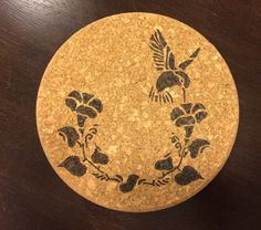 Wood Burned Hummingbird Cork Trivet 7.25 by DesignsByRebeccaLynn