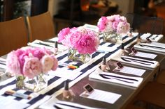 Classy party decor. Pink peonies and black stripes. Love the nail polish favors  in party theme colors