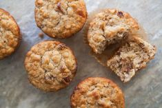 Oatmeal Muffins with Raisins, Dates, and Walnuts. Simple and adaptable. Could use GF flour, sub. agave or honey, or even applesauce for the sugar, and make them your own.