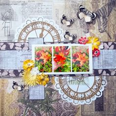 A few favorites~ My take on the August sketch from My Creative Sketches!  #scrapbooking #scrapbook #diecuts #flowers #sketch #timholtz