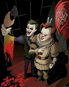 Pennywise And The Joker Taking A Photo With Gerogie's Ripped Off Arm Holding A Cell Phone.