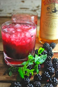 The Shenandoah Sour: Whiskey and Blackberry Lemonade. Blackberries muddled with lemon juice, mint, and simple syrup are covered with crushed ice and topped off with whiskey, and if necessary, a splash of club soda. Party Drinks, Cocktail Drinks, Fun Drinks, Cocktail Recipes, Alcoholic Drinks, Beverages, Whiskey Cocktails, Cheers, Whiskey Sour