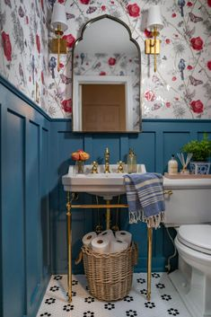 Bathroom Inspiration and Ideas Maximalistic French Powder Room: One Room Challenge Week 6 REVEAL - A Bad Inspiration, Bathroom Inspiration, Bathroom Colors, Small Bathroom, White Bathrooms, Luxury Bathrooms, Master Bathrooms, Dream Bathrooms, Retro Bathroom Decor