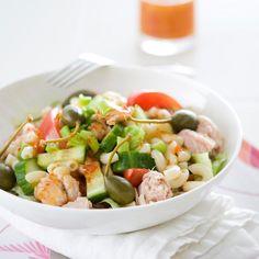 Makaronisalaatti   Maku Cobb Salad, Potato Salad, Potatoes, Meat, Chicken, Ethnic Recipes, Food, Potato, Essen