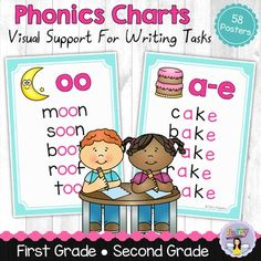 These 58 phonics charts provide visual support to students during writing and spelling activities. Each chart features a sound, picture and list of words to help children recall what the sound looks like. Charts included:* : a, ai, ay, a-e * : e, ee, ea, e-e, y (e & i sound)* : i, ie, i-e, igh* : o, oa, o-e, oe, ow* : u-e, ue, ew, oo* oo, u (as in book)* ou, ow (as in house)* oi, oy (as in boy)* ar, a (as in car)* er, ir, ur, ear (as in bird)* or, au, aw (as in fork)* all, ing, ck, ch, sh...