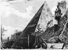La piramide di Caio Cestio in una stampa di G:B:Piranesi (18th century)  - Pyramid of Cestius