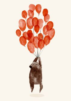 A little bear with it's balloons. Animal art for a children's room. - - A little bear with it's balloons. Animal art for a children's room. Thumb Prints, Art Et Illustration, Art Plastique, Wedding Guest Book, Framed Art Prints, Book Art, Balloons, Creations, Artsy