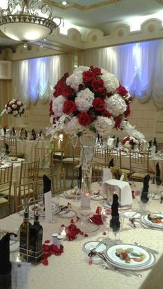 www.flowersbybrian.com Red Centerpieces, Table Decorations, Furniture, Home Decor, Decoration Home, Home Furnishings, Interior Design, Home Interior Design, Tropical Furniture