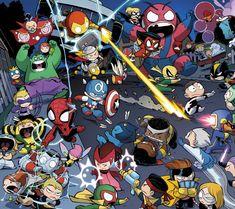 Comics A-Babies Vs. X-Babies  Iron Fist Martian Manhunter Cyclops Scarlet Witch Beast Wolverine Spider-Woman Thor Captain America Spider-Man Colossus Wasp Iron Man Hulk Wallpaper