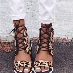 Trending tribal. Leopard sandles