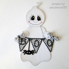 Ghost with Boo Banner Paper Piecing……Halloween Spooky Piece Measures ~ 6.5″ Tall