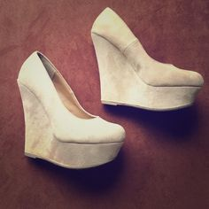 Nude wedges Worn once. Like new Shoes Wedges