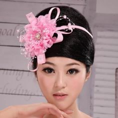 Pink Beaded Rosette Wedding Bridal Prom Party Ball Headpieces SKU-10806412