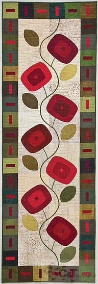 """From the book 15 Bed Runners, Table Toppers & Wallhangings by Kim Schaefer---I like the """"modern"""" style of this one. Quilting Projects, Quilting Designs, Sewing Projects, Sewing Crafts, Fabric Crafts, Patchwork Quilting, Applique Quilts, Table Runner And Placemats, Quilted Table Runners"""