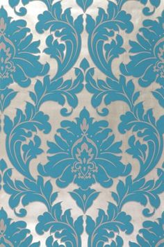 £28.60 Price per roll (per m2 £5.47), Baroque wallpaper, Carrier material: Non-woven wallpaper, Surface: Tactile relief effect, Look: Matt pattern, Shimmering base surface, Design: Baroque damask, Basic colour: White gold, Pattern colour: Turquoise blue, Characteristics: Good lightfastness, Low flammability, Strippable, Paste the wall, Wash-resistant